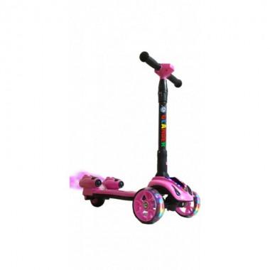 Детский самокат с дымком с турбиной и музыкой GLANBER розовый
