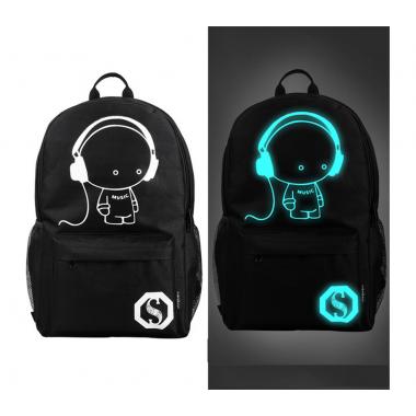 Светящийся городской рюкзак с usb зарядкой + замок (человечек в наушниках)